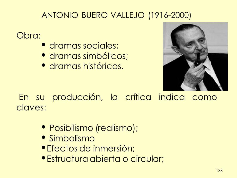 138 ANTONIO BUERO VALLEJO (1916-2000) Obra: dramas sociales; dramas simbólicos; dramas históricos. En su producción, la crítica indica como claves: Po