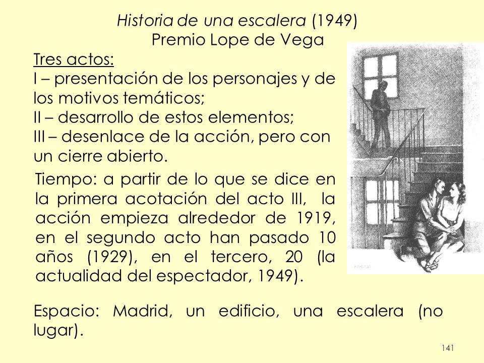 141 Historia de una escalera (1949) Premio Lope de Vega Tres actos: I – presentación de los personajes y de los motivos temáticos; II – desarrollo de estos elementos; III – desenlace de la acción, pero con un cierre abierto.