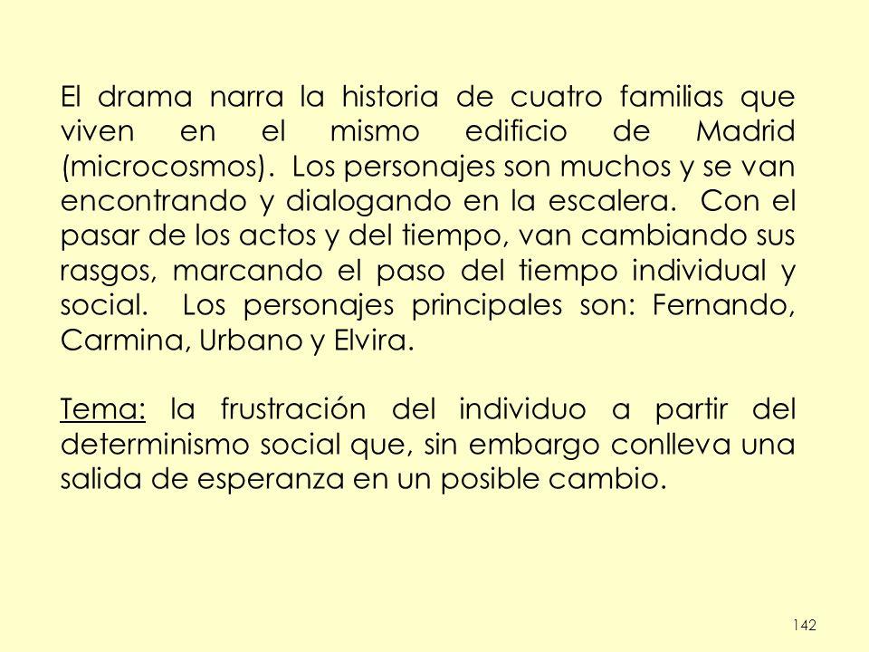 142 El drama narra la historia de cuatro familias que viven en el mismo edificio de Madrid (microcosmos). Los personajes son muchos y se van encontran