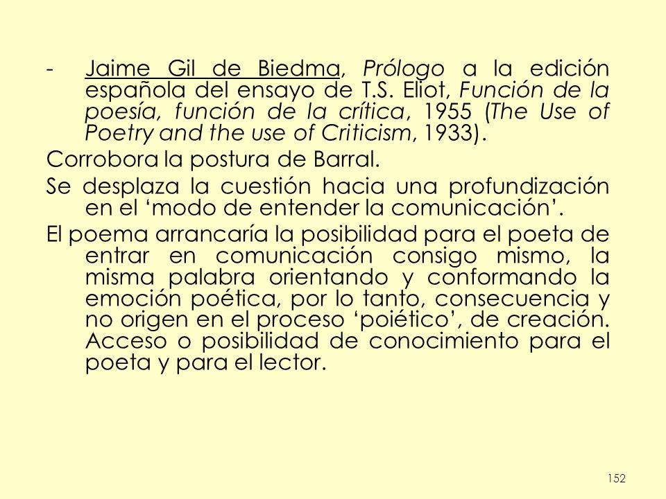 152 -Jaime Gil de Biedma, Prólogo a la edición española del ensayo de T.S.