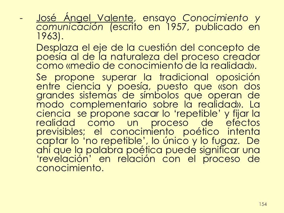 154 -José Ángel Valente, ensayo Conocimiento y comunicación (escrito en 1957, publicado en 1963). Desplaza el eje de la cuestión del concepto de poesí