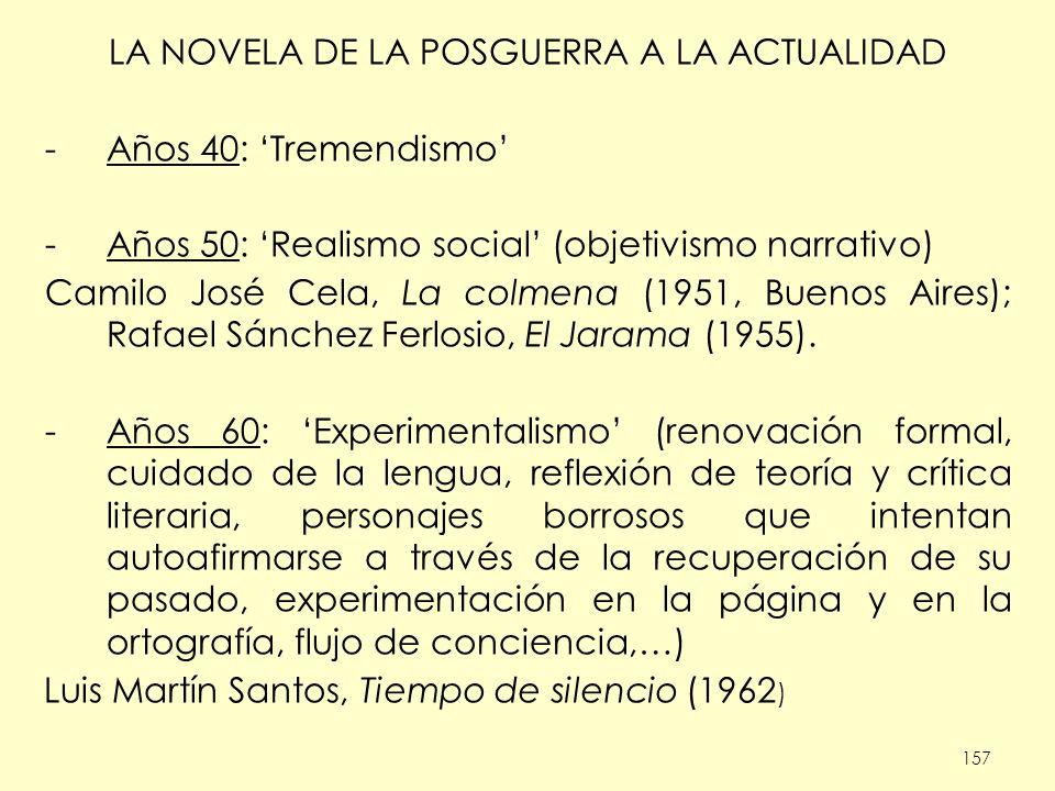 157 LA NOVELA DE LA POSGUERRA A LA ACTUALIDAD -Años 40: Tremendismo -Años 50: Realismo social (objetivismo narrativo) Camilo José Cela, La colmena (19