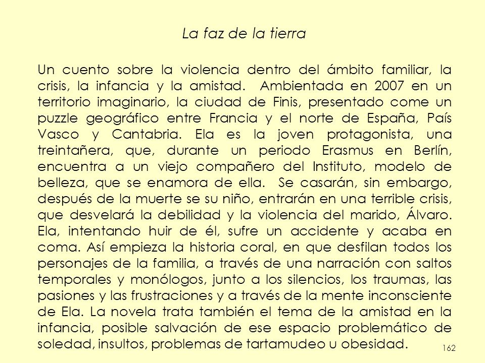 162 La faz de la tierra Un cuento sobre la violencia dentro del ámbito familiar, la crisis, la infancia y la amistad. Ambientada en 2007 en un territo