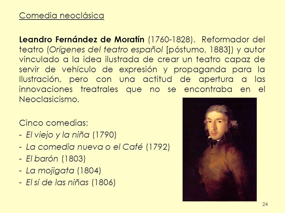 24 Comedia neoclásica Leandro Fernández de Moratín (1760-1828). Reformador del teatro (Orígenes del teatro español [póstumo, 1883]) y autor vinculado
