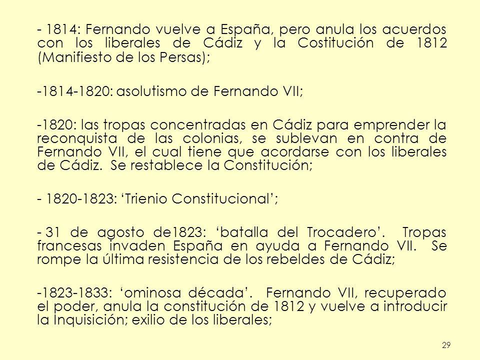 29 - 1814: Fernando vuelve a España, pero anula los acuerdos con los liberales de Cádiz y la Costitución de 1812 (Manifiesto de los Persas); -1814-1820: asolutismo de Fernando VII; -1820: las tropas concentradas en Cádiz para emprender la reconquista de las colonias, se sublevan en contra de Fernando VII, el cual tiene que acordarse con los liberales de Cádiz.