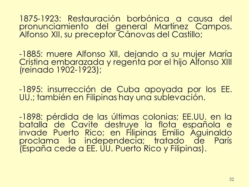 32 1875-1923: Restauración borbónica a causa del pronunciamiento del general Martínez Campos. Alfonso XII, su preceptor Cánovas del Castillo; -1885: m