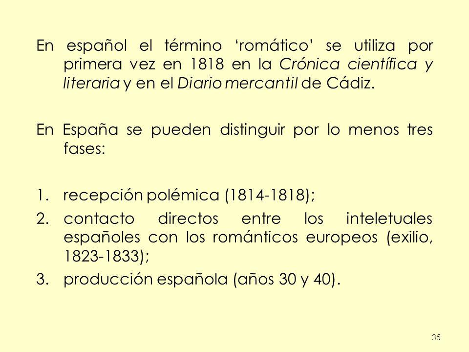 35 En español el término romático se utiliza por primera vez en 1818 en la Crónica científica y literaria y en el Diario mercantil de Cádiz. En España