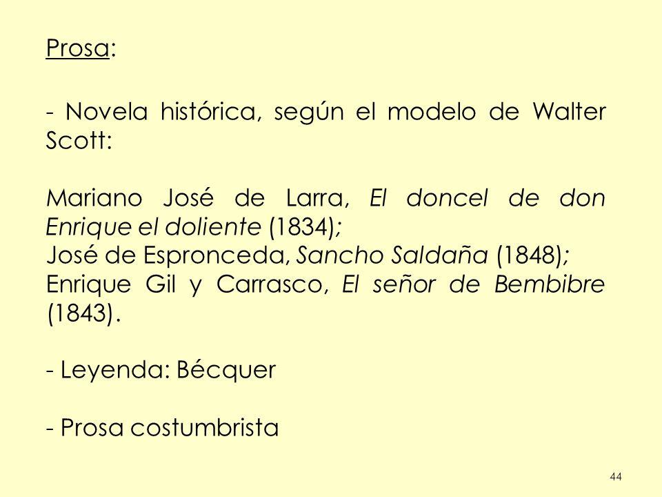 44 Prosa: - Novela histórica, según el modelo de Walter Scott: Mariano José de Larra, El doncel de don Enrique el doliente (1834); José de Espronceda, Sancho Saldaña (1848); Enrique Gil y Carrasco, El señor de Bembibre (1843).