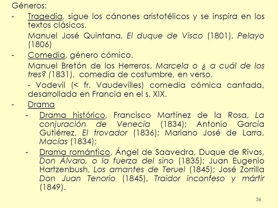56 Géneros: -Tragedia, sigue los cánones aristotélicos y se inspira en los textos clásicos. Manuel José Quintana, El duque de Visco (1801), Pelayo (18