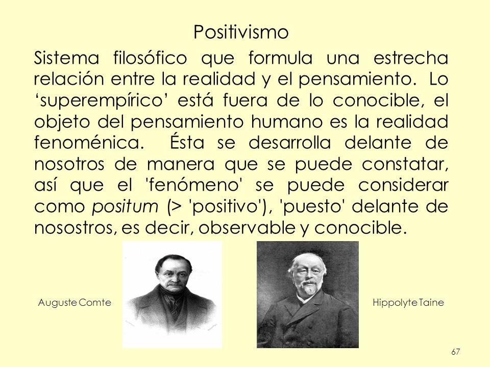 67 Positivismo Sistema filosófico que formula una estrecha relación entre la realidad y el pensamiento.