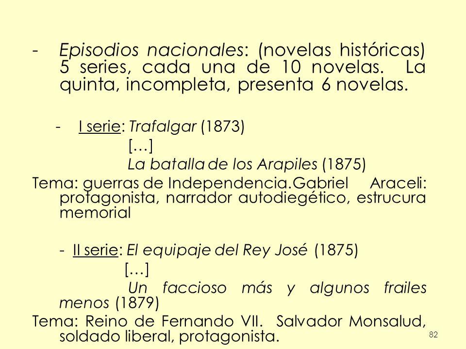82 -Episodios nacionales: (novelas históricas) 5 series, cada una de 10 novelas. La quinta, incompleta, presenta 6 novelas. -I serie: Trafalgar (1873)