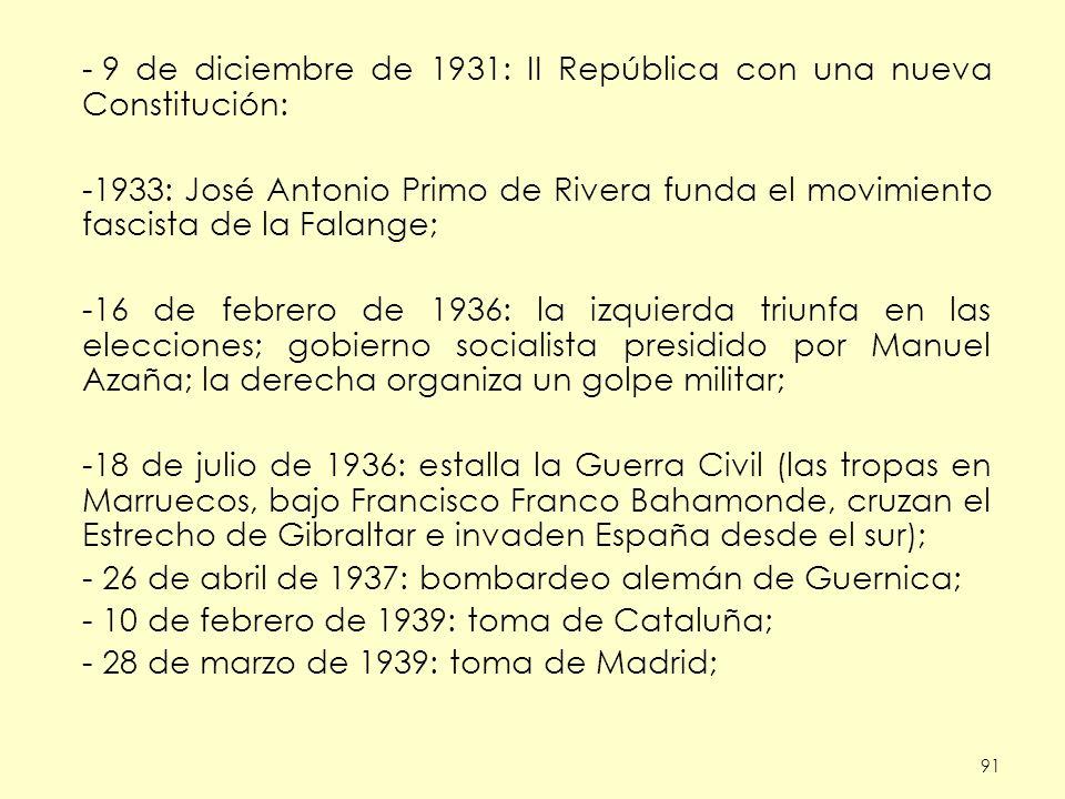 91 - 9 de diciembre de 1931: II República con una nueva Constitución: -1933: José Antonio Primo de Rivera funda el movimiento fascista de la Falange; -16 de febrero de 1936: la izquierda triunfa en las elecciones; gobierno socialista presidido por Manuel Azaña; la derecha organiza un golpe militar; -18 de julio de 1936: estalla la Guerra Civil (las tropas en Marruecos, bajo Francisco Franco Bahamonde, cruzan el Estrecho de Gibraltar e invaden España desde el sur); - 26 de abril de 1937: bombardeo alemán de Guernica; - 10 de febrero de 1939: toma de Cataluña; - 28 de marzo de 1939: toma de Madrid;