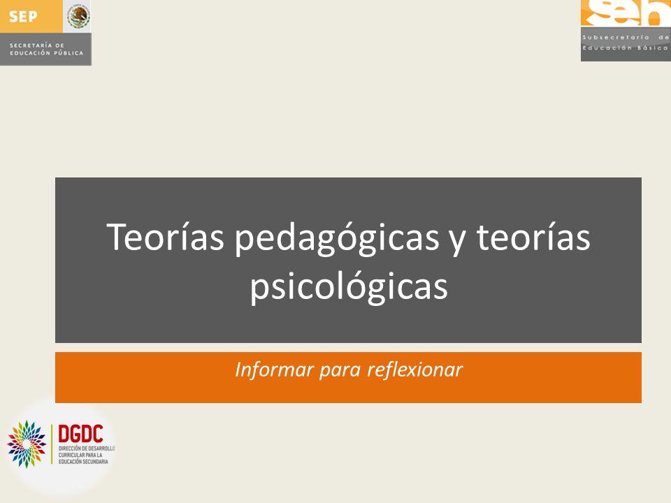 Teorías pedagógicas y teorías psicológicas Informar para reflexionar
