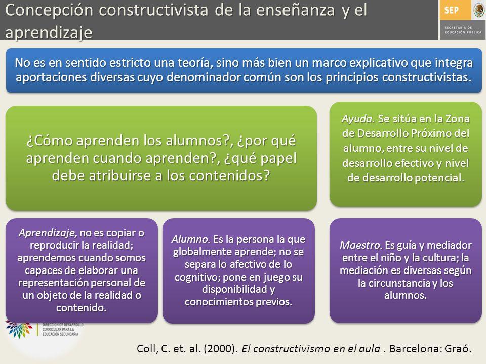 Concepción constructivista de la enseñanza y el aprendizaje No es en sentido estricto una teoría, sino más bien un marco explicativo que integra aport