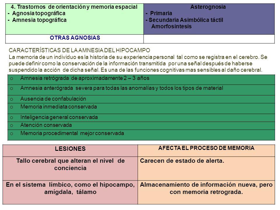 4. Trastornos de orientación y memoria espacial - Agnosia topográfica - Amnesia topográfica Asterognosia - Primaria - Secundaria Asimbólica táctil Amo