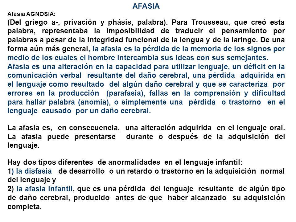 AFASIA Afasia AGNOSIA: (Del griego a-, privación y phásis, palabra). Para Trousseau, que creó esta palabra, representaba la imposibilidad de traducir