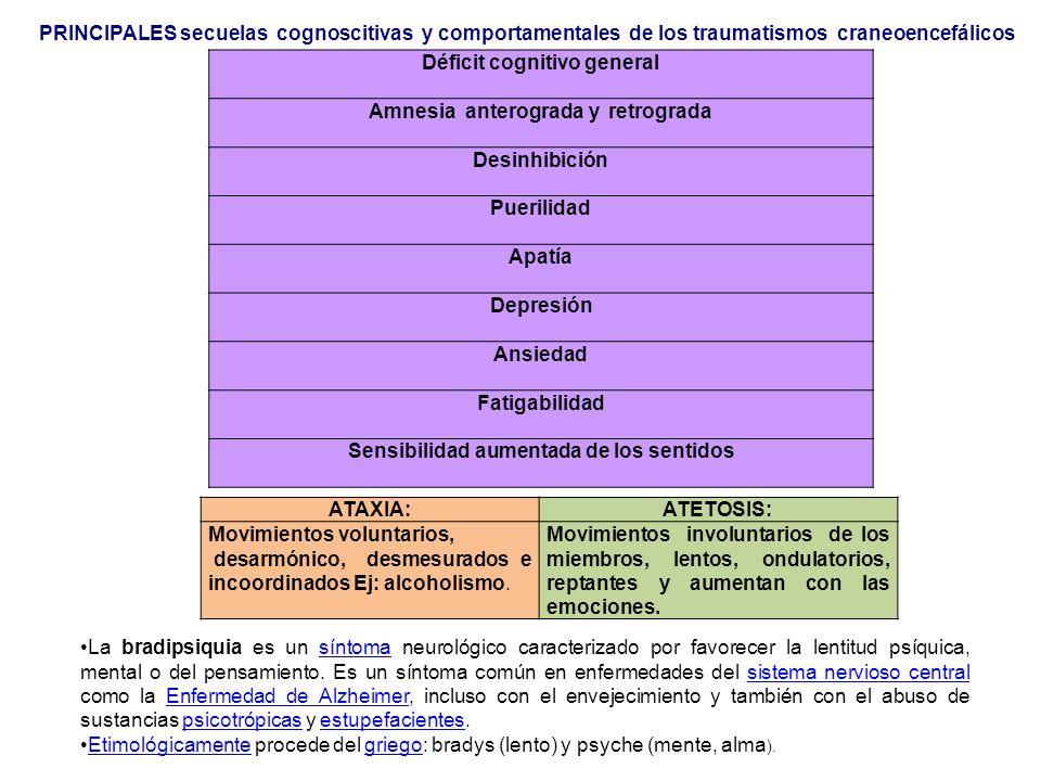 PRINCIPALES secuelas cognoscitivas y comportamentales de los traumatismos craneoencefálicos Déficit cognitivo general Amnesia anterograda y retrograda