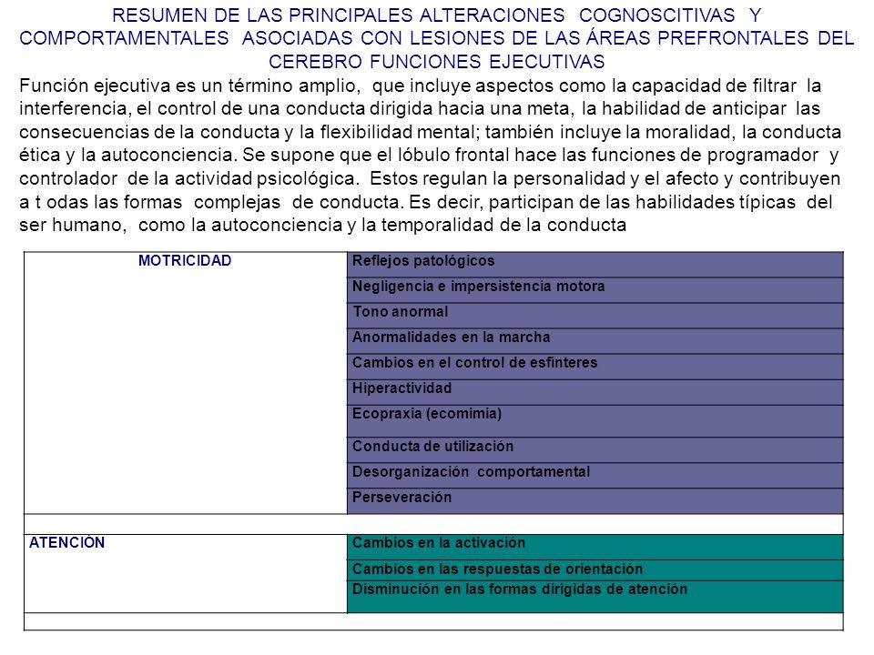 RESUMEN DE LAS PRINCIPALES ALTERACIONES COGNOSCITIVAS Y COMPORTAMENTALES ASOCIADAS CON LESIONES DE LAS ÁREAS PREFRONTALES DEL CEREBRO FUNCIONES EJECUT