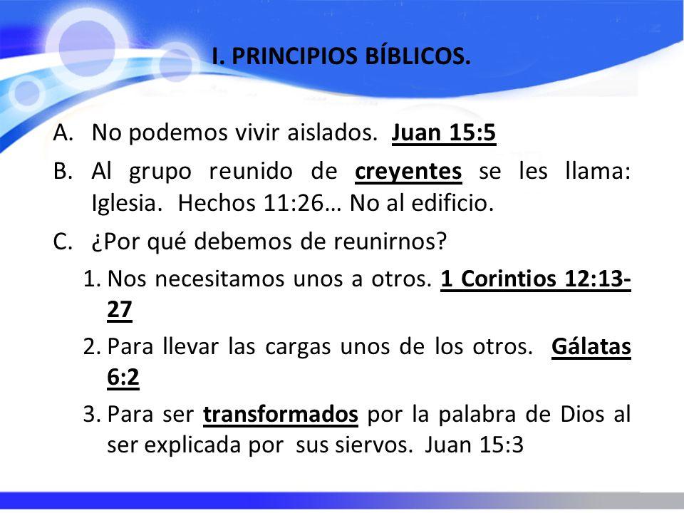 I. PRINCIPIOS BÍBLICOS. A.No podemos vivir aislados. Juan 15:5 B.Al grupo reunido de creyentes se les llama: Iglesia. Hechos 11:26… No al edificio. C.