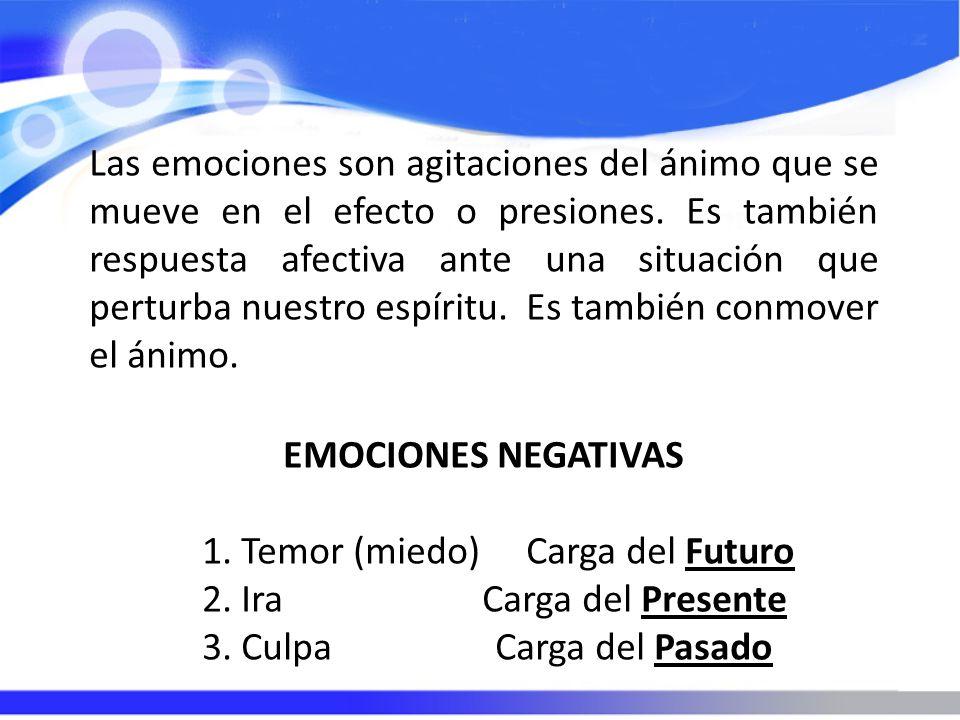 Las emociones son agitaciones del ánimo que se mueve en el efecto o presiones. Es también respuesta afectiva ante una situación que perturba nuestro e