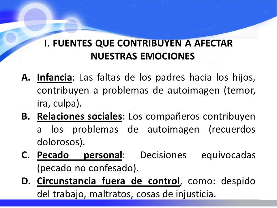 I.FUENTES QUE CONTRIBUYEN A AFECTAR NUESTRAS EMOCIONES A.Infancia: Las faltas de los padres hacia los hijos, contribuyen a problemas de autoimagen (te