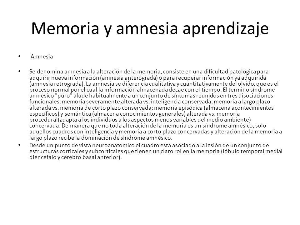Memoria y amnesia aprendizaje Amnesia Se denomina amnesia a la alteración de la memoria, consiste en una dificultad patológica para adquirir nueva información (amnesia anterógrada) o para recuperar información ya adquirida (amnesia retrograda).