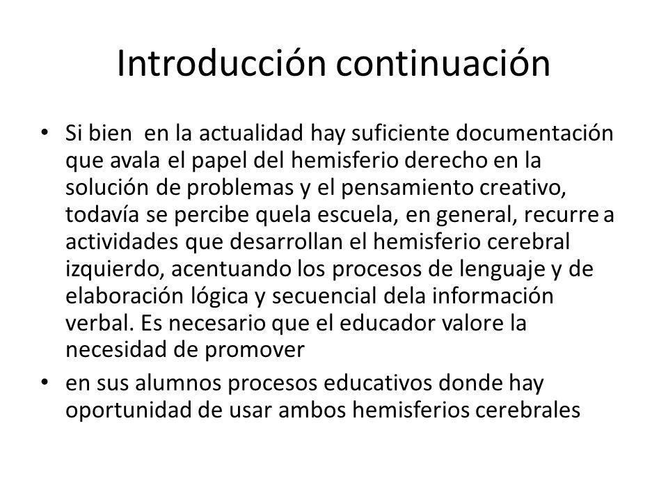 Introducción continuación Si bien en la actualidad hay suficiente documentación que avala el papel del hemisferio derecho en la solución de problemas