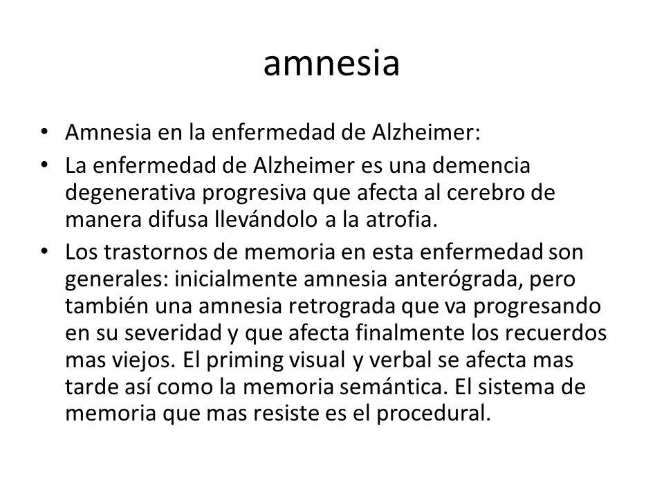 amnesia Amnesia en la enfermedad de Alzheimer: La enfermedad de Alzheimer es una demencia degenerativa progresiva que afecta al cerebro de manera difusa llevándolo a la atrofia.