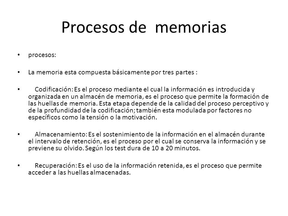 Procesos de memorias procesos: La memoria esta compuesta básicamente por tres partes : Codificación: Es el proceso mediante el cual la información es introducida y organizada en un almacén de memoria, es el proceso que permite la formación de las huellas de memoria.