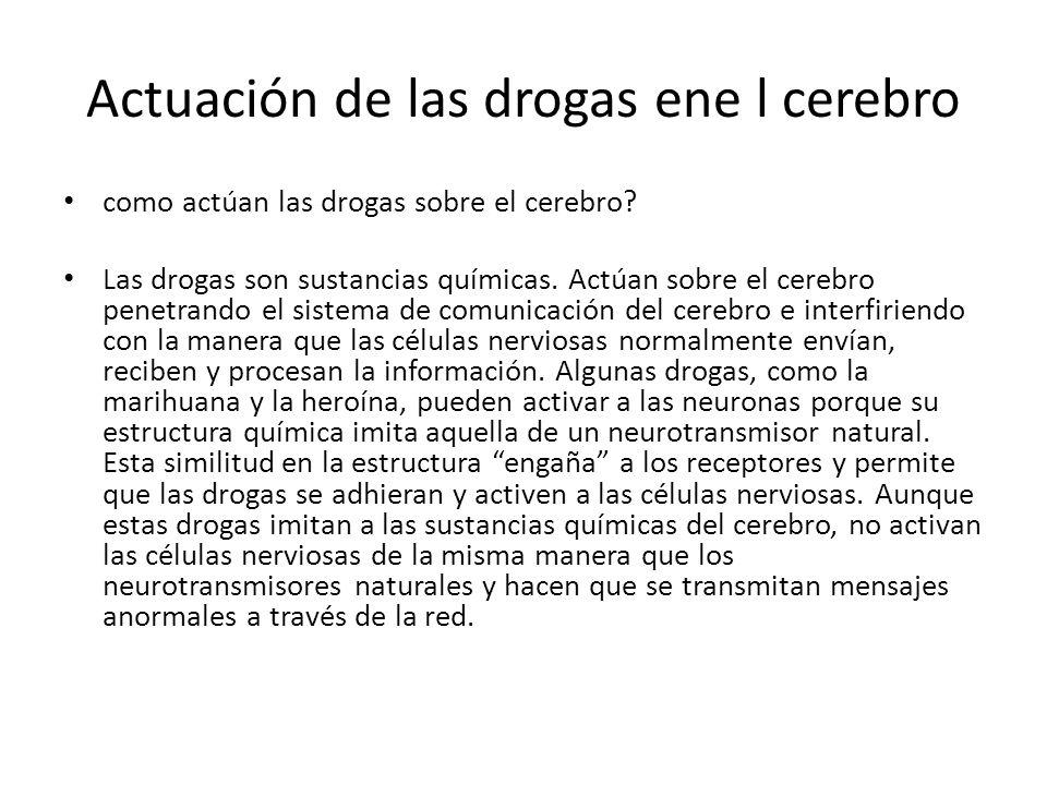 Actuación de las drogas ene l cerebro como actúan las drogas sobre el cerebro? Las drogas son sustancias químicas. Actúan sobre el cerebro penetrando