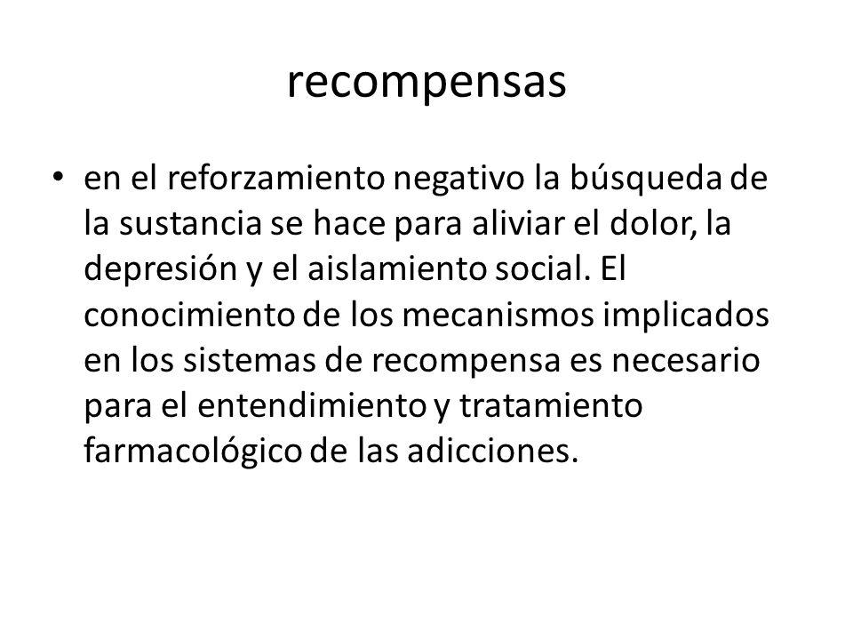 recompensas en el reforzamiento negativo la búsqueda de la sustancia se hace para aliviar el dolor, la depresión y el aislamiento social.