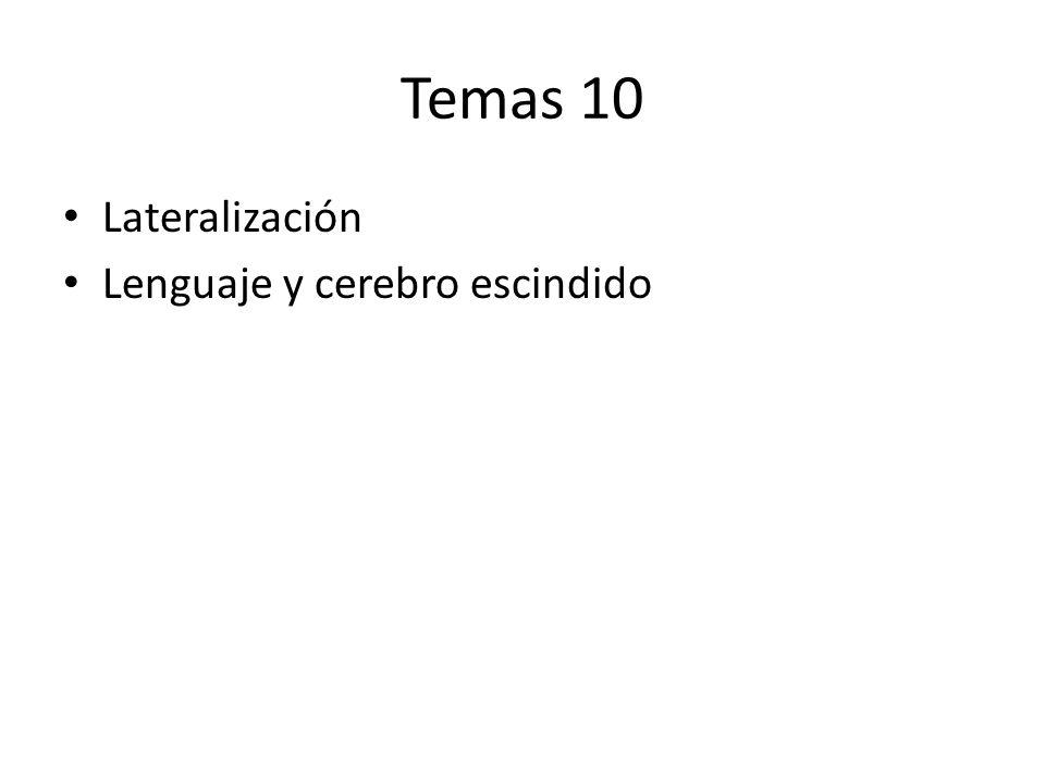 Temas 10 Lateralización Lenguaje y cerebro escindido