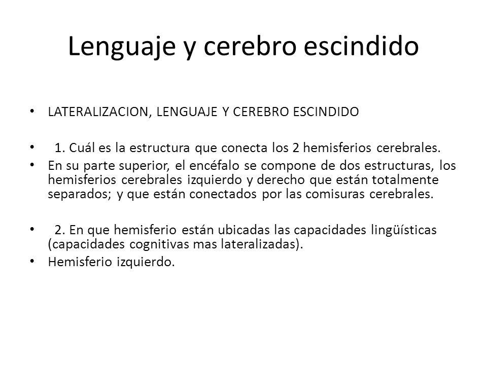 Lenguaje y cerebro escindido LATERALIZACION, LENGUAJE Y CEREBRO ESCINDIDO 1.