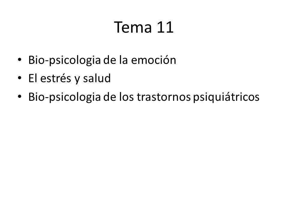 Tema 11 Bio-psicologia de la emoción El estrés y salud Bio-psicologia de los trastornos psiquiátricos
