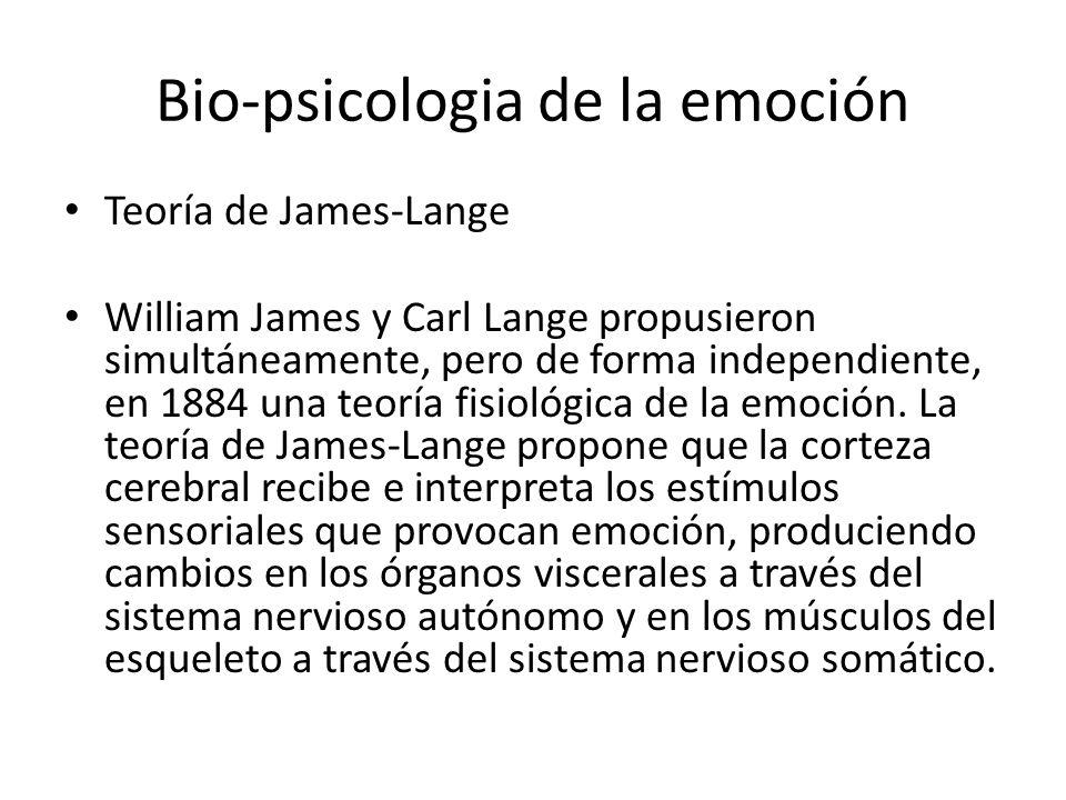 Bio-psicologia de la emoción Teoría de James-Lange William James y Carl Lange propusieron simultáneamente, pero de forma independiente, en 1884 una teoría fisiológica de la emoción.