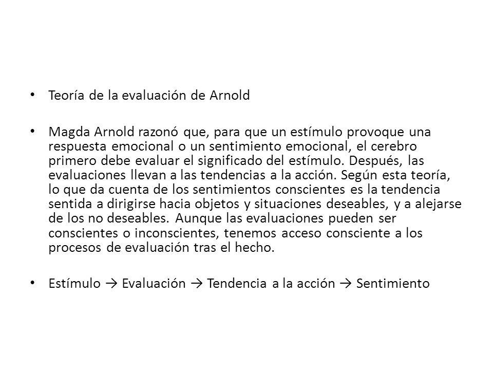 Teoría de la evaluación de Arnold Magda Arnold razonó que, para que un estímulo provoque una respuesta emocional o un sentimiento emocional, el cerebr