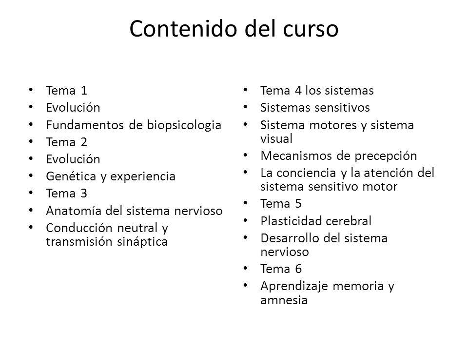 Contenido del curso Tema 1 Evolución Fundamentos de biopsicologia Tema 2 Evolución Genética y experiencia Tema 3 Anatomía del sistema nervioso Conducc