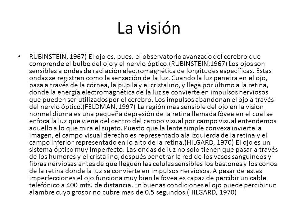 La visión RUBINSTEIN, 1967) El ojo es, pues, el observatorio avanzado del cerebro que comprende el bulbo del ojo y el nervio óptico.(RUBINSTEIN,1967) Los ojos son sensibles a ondas de radiación electromagnética de longitudes específicas.