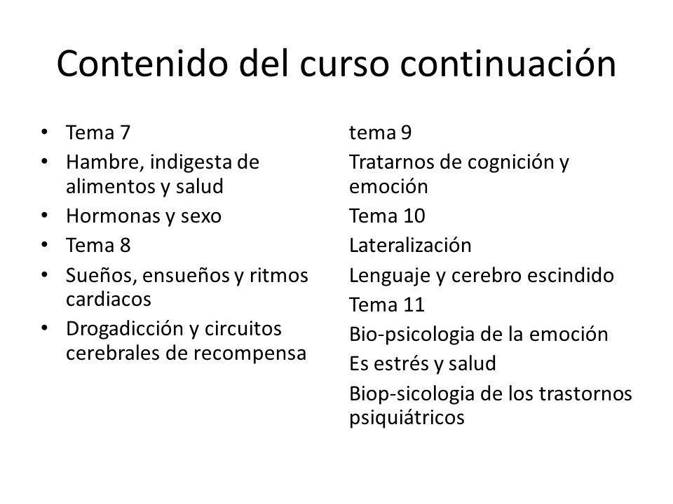 Contenido del curso continuación Tema 7 Hambre, indigesta de alimentos y salud Hormonas y sexo Tema 8 Sueños, ensueños y ritmos cardiacos Drogadicción