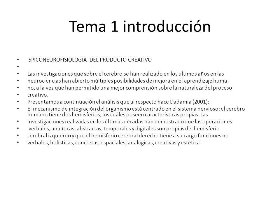 Tema 1 introducción SPICONEUROFISIOLOGIA DEL PRODUCTO CREATIVO Las investigaciones que sobre el cerebro se han realizado en los últimos años en las ne