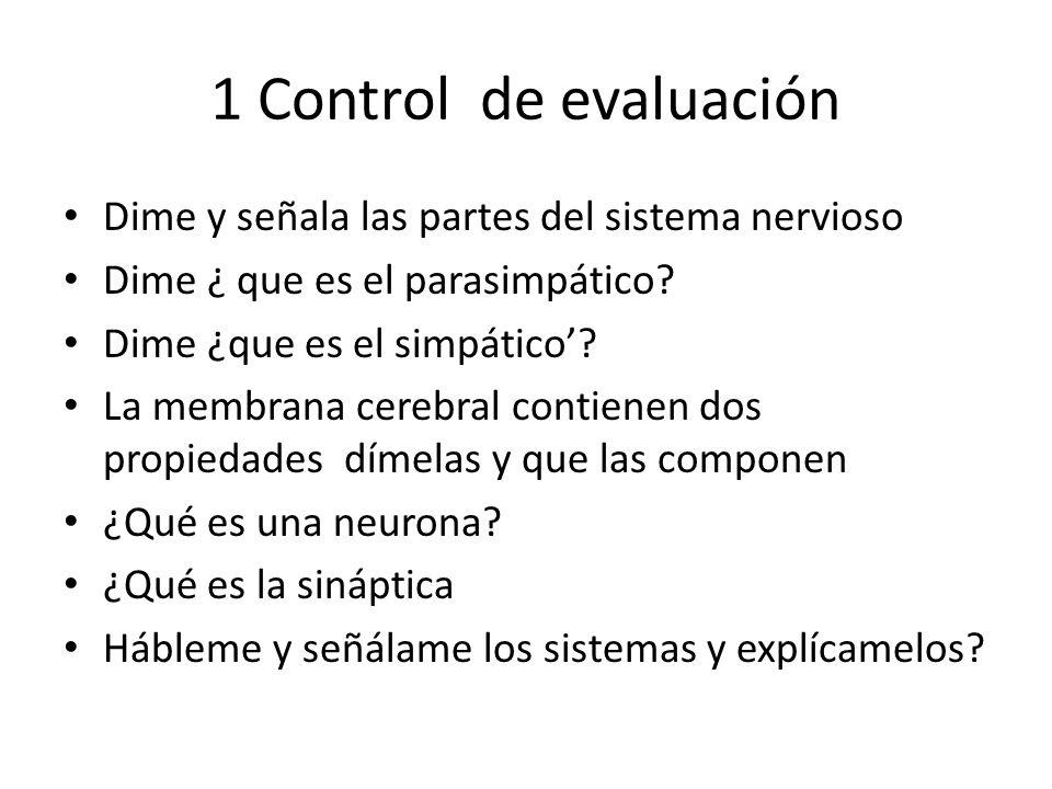 1 Control de evaluación Dime y señala las partes del sistema nervioso Dime ¿ que es el parasimpático? Dime ¿que es el simpático? La membrana cerebral