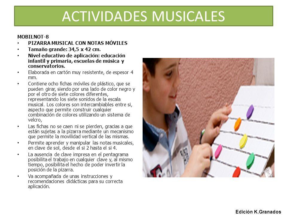 ACTIVIDADES MUSICALES Edición K.Granados MOBILNOT-8 PIZARRA MUSICAL CON NOTAS MÓVILES Tamaño grande: 34,5 x 42 cm.