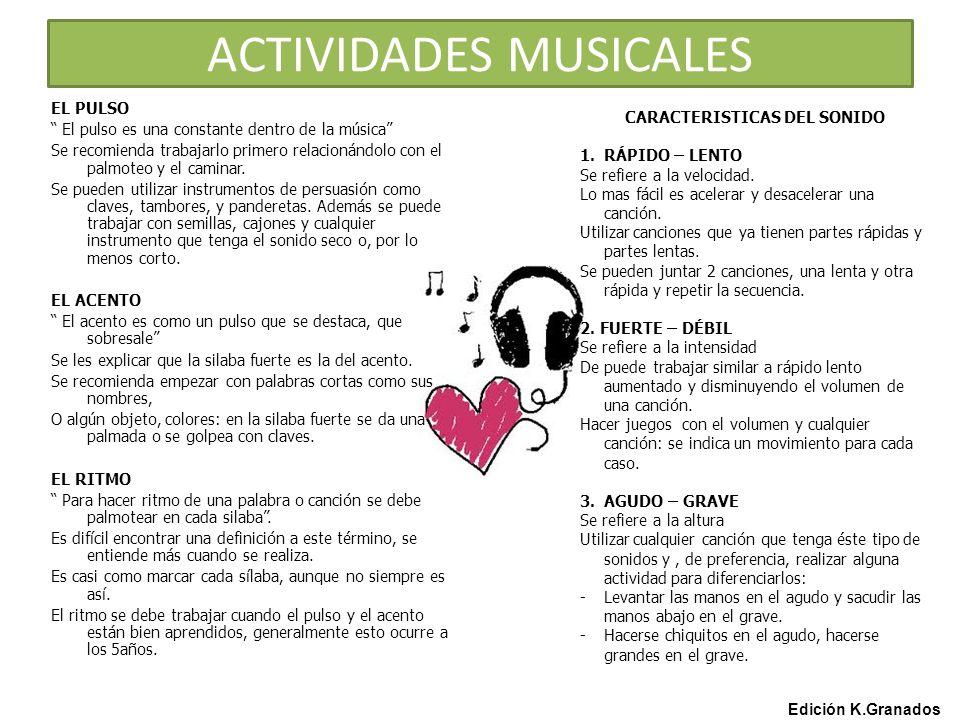 ACTIVIDADES MUSICALES Edición K.Granados EL PULSO El pulso es una constante dentro de la música Se recomienda trabajarlo primero relacionándolo con el palmoteo y el caminar.