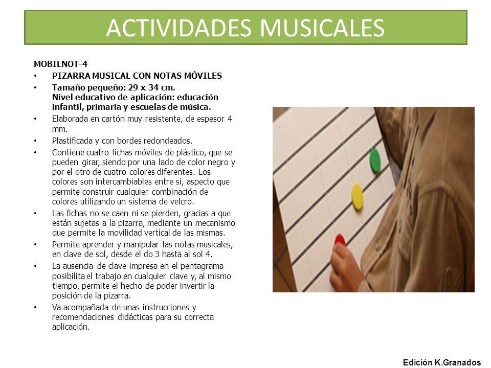 ACTIVIDADES MUSICALES MOBILNOT-4 PIZARRA MUSICAL CON NOTAS MÓVILES Tamaño pequeño: 29 x 34 cm.