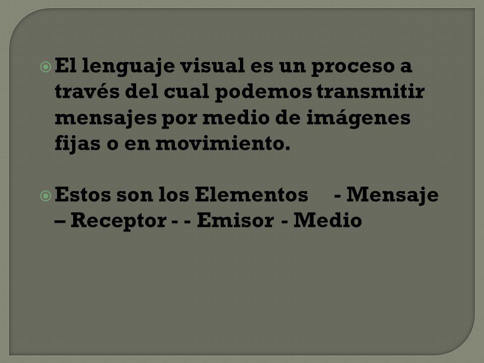 El lenguaje visual es un proceso a través del cual podemos transmitir mensajes por medio de imágenes fijas o en movimiento. Estos son los Elementos -