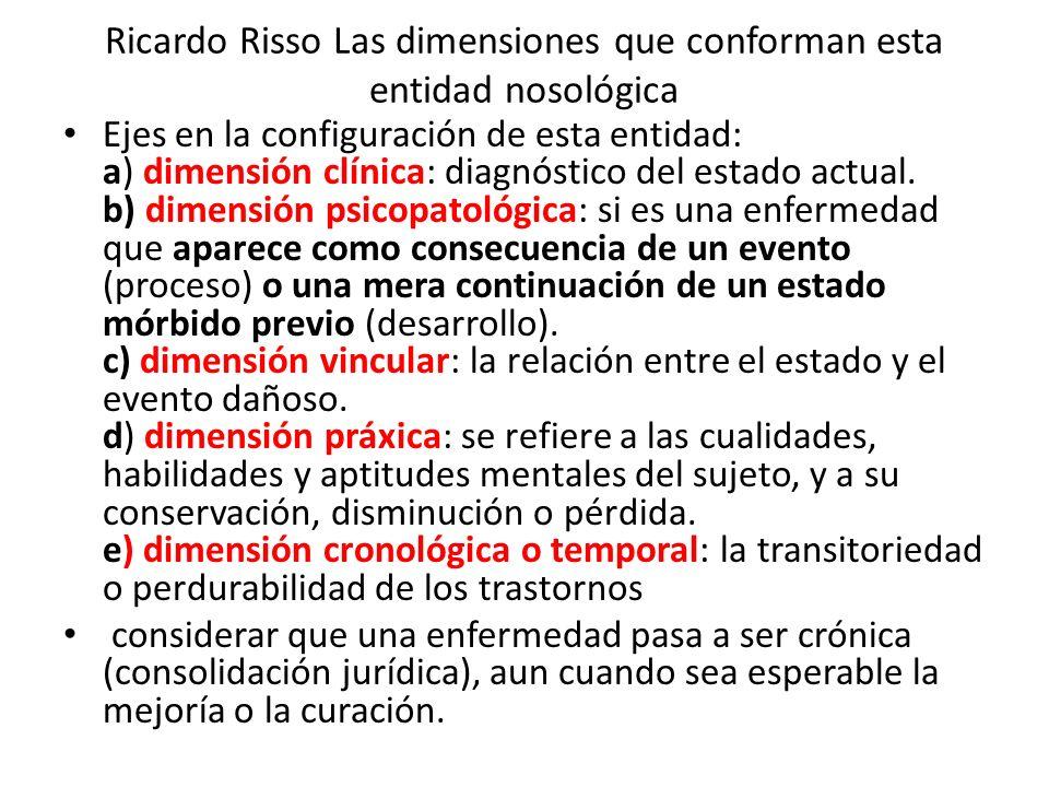 Ricardo Risso Las dimensiones que conforman esta entidad nosológica Ejes en la configuración de esta entidad: a) dimensión clínica: diagnóstico del estado actual.