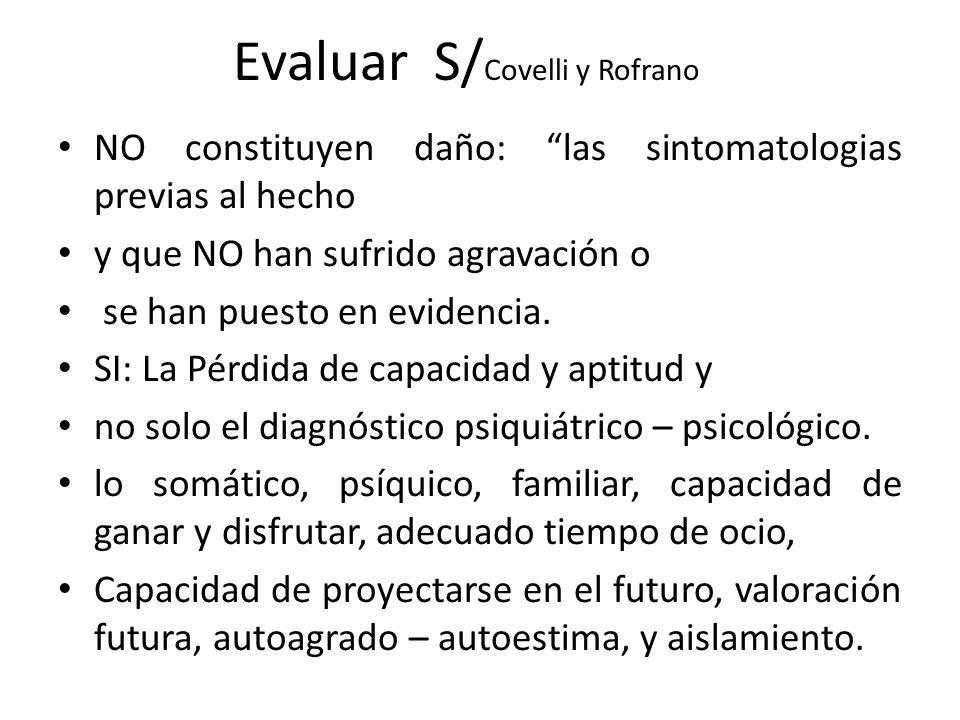 Evaluar S/ Covelli y Rofrano NO constituyen daño: las sintomatologias previas al hecho y que NO han sufrido agravación o se han puesto en evidencia.
