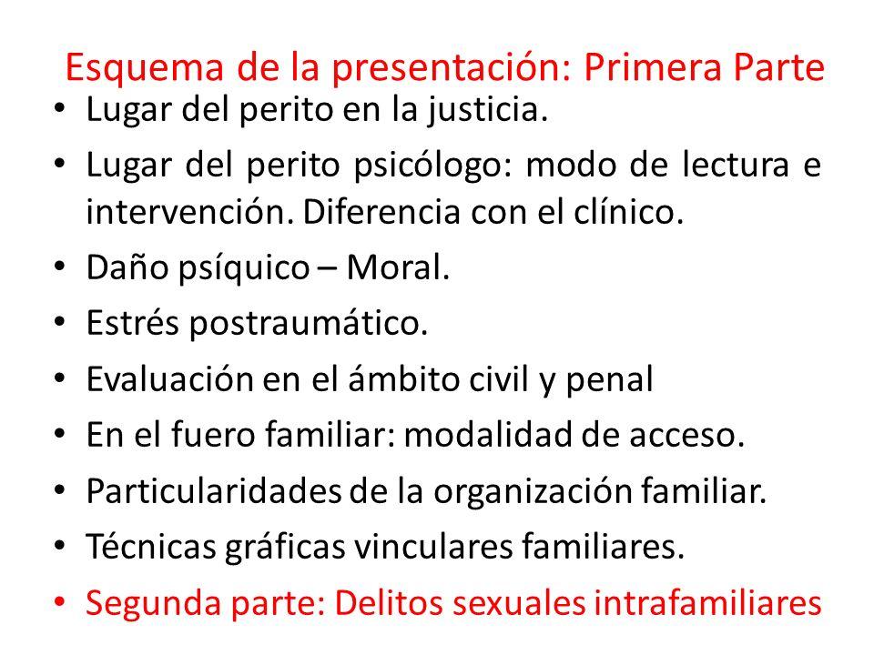 Esquema de la presentación: Primera Parte Lugar del perito en la justicia.