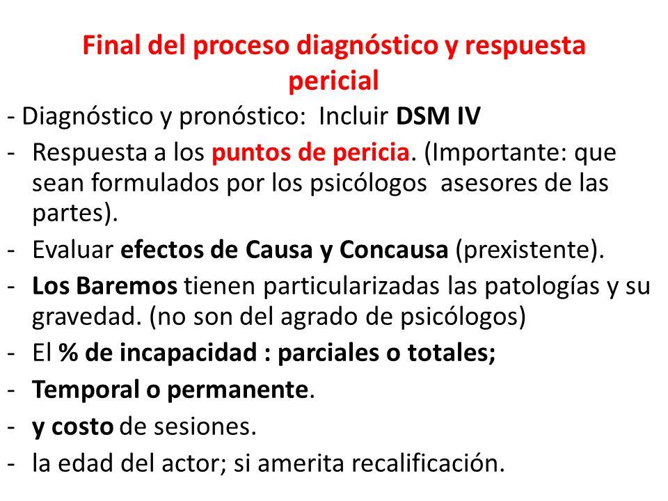 Final del proceso diagnóstico y respuesta pericial - Diagnóstico y pronóstico: Incluir DSM IV -Respuesta a los puntos de pericia.