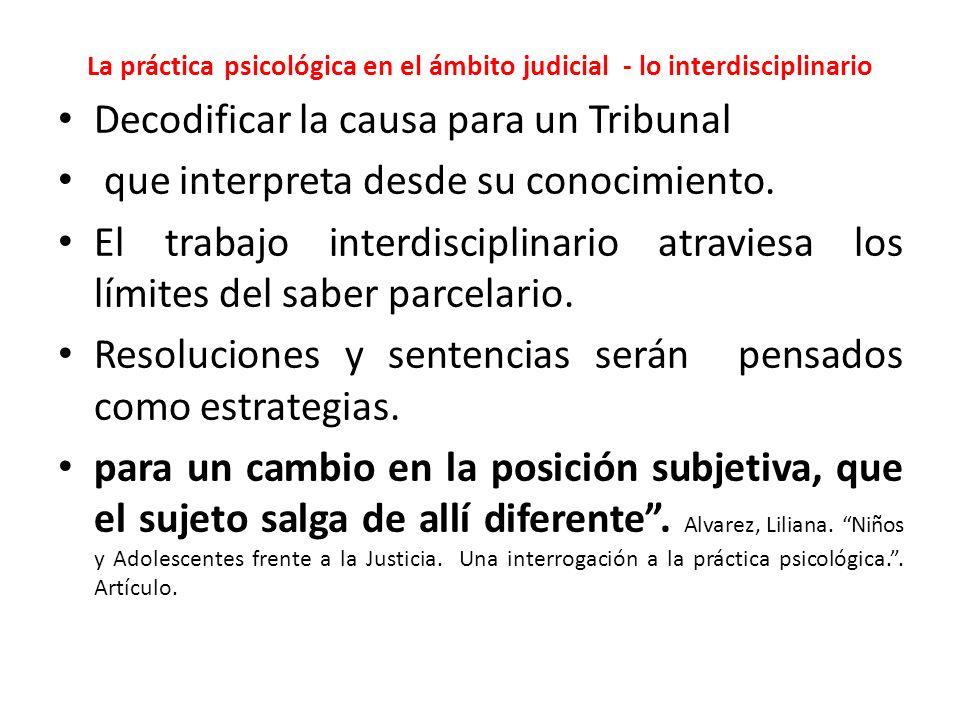 La práctica psicológica en el ámbito judicial - lo interdisciplinario Decodificar la causa para un Tribunal que interpreta desde su conocimiento.
